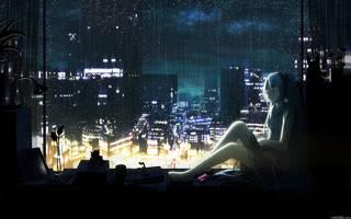 Anime menina na janela.