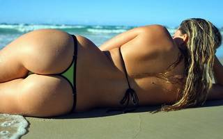 Erotic girl in a thong.