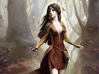 Menina da fantasia com um rosto angelical